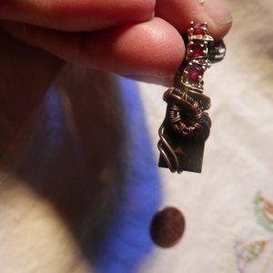 Jewelry - Faceted Smoky quartz and ruby pendant
